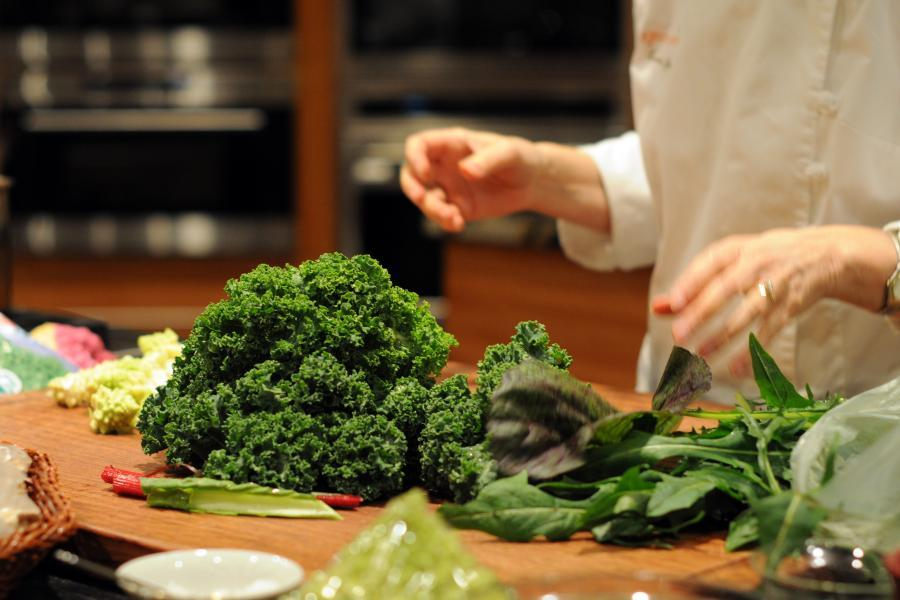 Kale and Green Vegetables Used in Cooking Class
