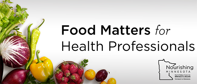 """Carrots, onions, green vegetables and black text which reads """"Food Matters for Health Professionals Continuing Education"""""""