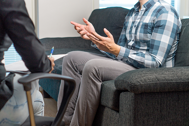 Person participating in a health coaching session