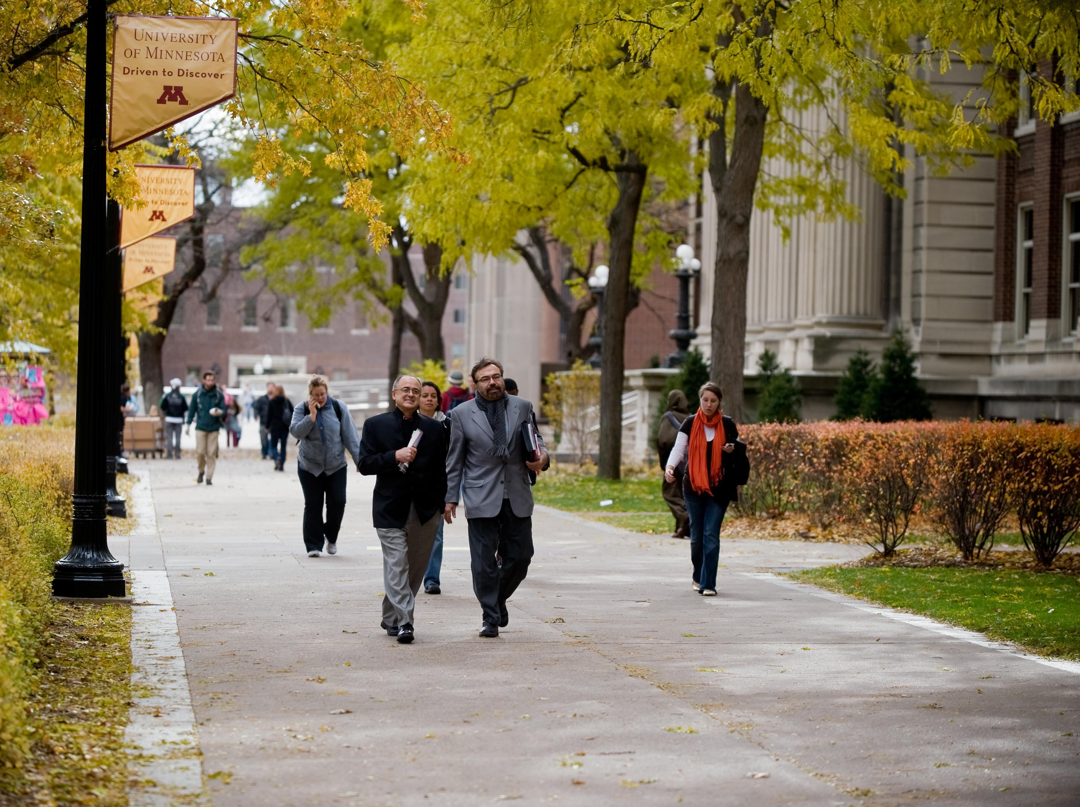 People walking on the University of Minnesota East Bank campus
