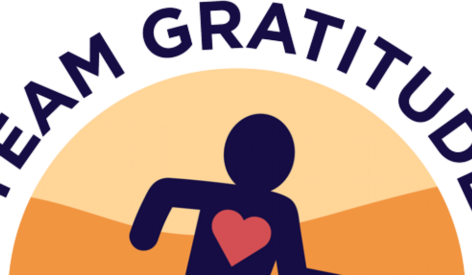 Team Gratitude Logo with Running Person and emphasized heart