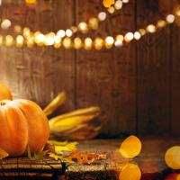 Thanksgiving pumpkins and corn and orange and gold lights