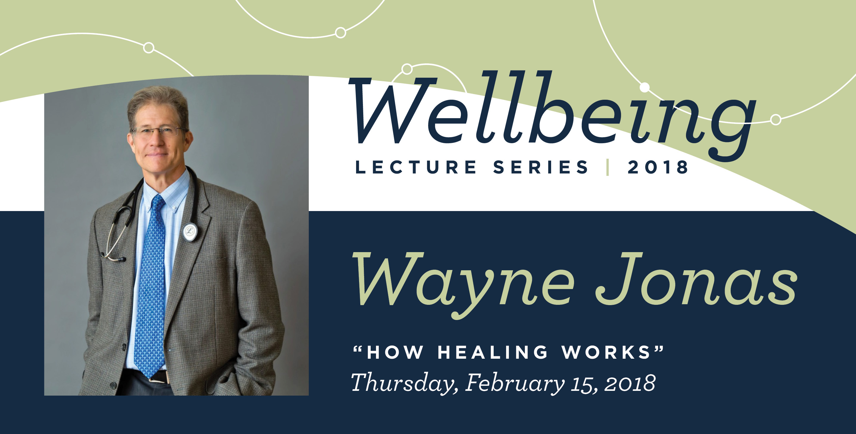Image of Dr. Wayne Jonas and Wellbeing Lecture visual header